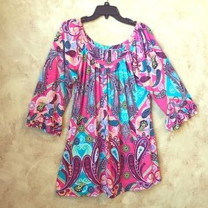 Off the shoulder pink paisley blouse &/or tunic